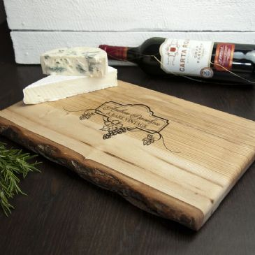 Personalised Wine And Cheese Rustic Wood Platter